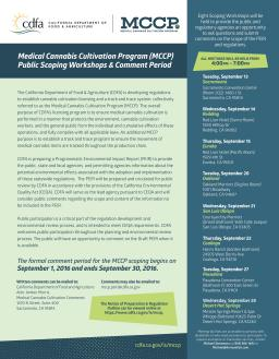 CDFA announces Medical Cannabis Cultivation Program (MCCP) Public Scoping Workshops & Comment Period dates
